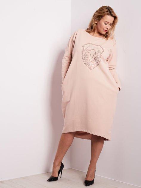 Jasnoróżowa dresowa sukienka z kieszeniami PLUS SIZE                              zdj.                              5