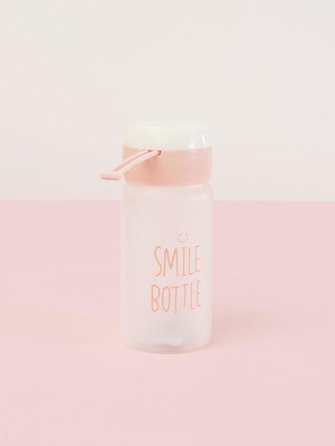 Jasnoróżowa ekologiczna butelka bidon z napisem                              zdj.                              3