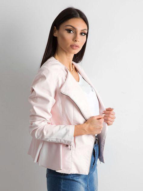 Jasnoróżowa kurtka ze skóry ekologicznej                              zdj.                              3