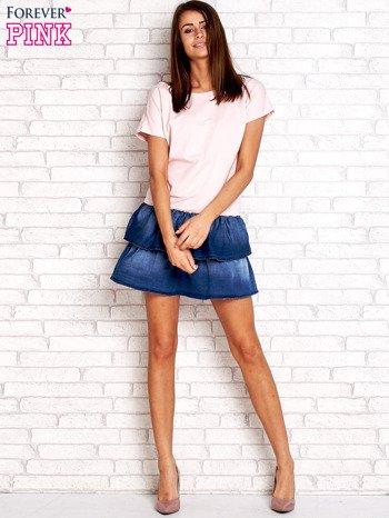 Jasnoróżowa sukienka dresowa z jeansowym dołem                                  zdj.                                  4