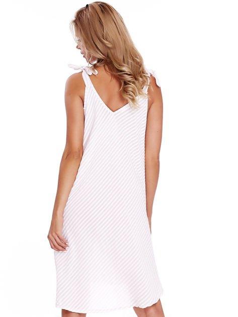 Jasnoróżowa sukienka w paski wiązana na ramionach                              zdj.                              2