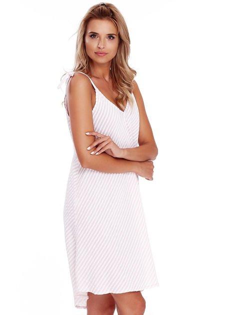 Jasnoróżowa sukienka w paski wiązana na ramionach                              zdj.                              3