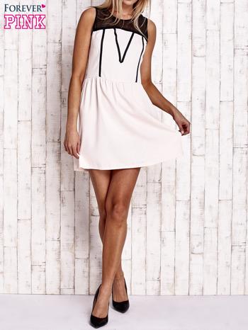 Jasnoróżowa sukienka z siateczkową górą                                  zdj.                                  2