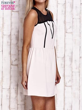 Jasnoróżowa sukienka z siateczkową górą                                  zdj.                                  3