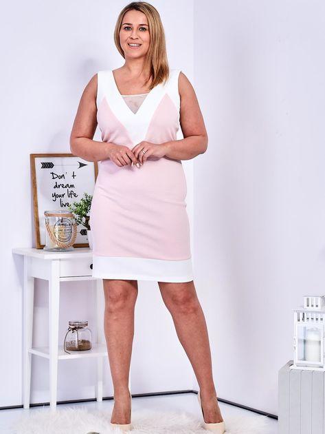 Jasnoróżowa sukienka z siateczkową wstawką PLUS SIZE                              zdj.                              4