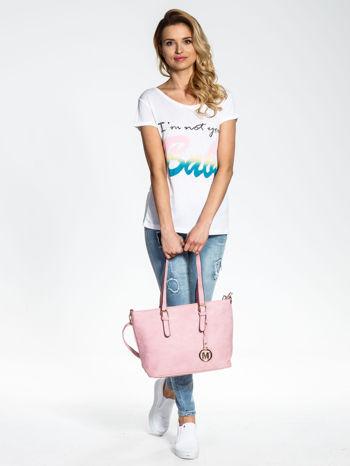 Jasnoróżowa torba shopper bag z zawieszką                                  zdj.                                  2