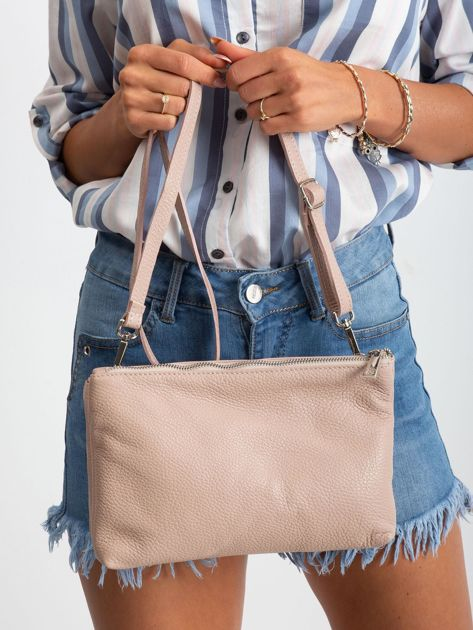 Jasnoróżowa torebka damska ze skóry naturalnej                              zdj.                              5