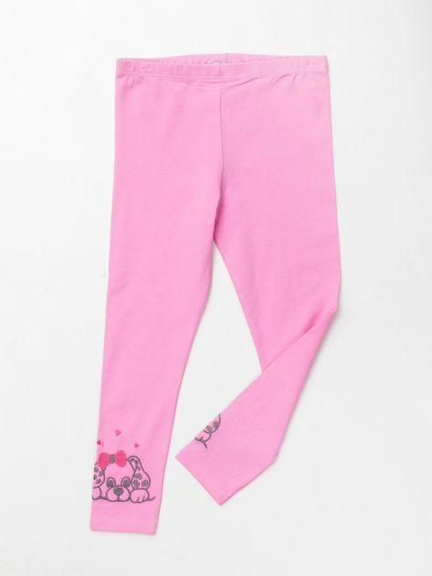 Jasnoróżowe bawełniane legginsy dla dziewczynki                               zdj.                              1