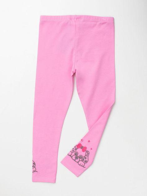 Jasnoróżowe bawełniane legginsy dla dziewczynki                               zdj.                              2