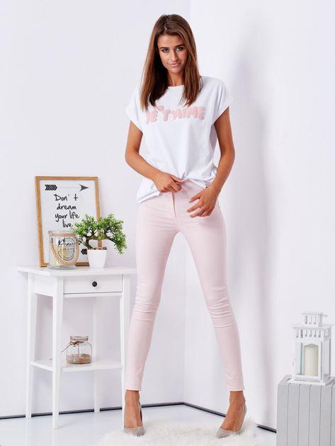 Jasnoróżowe dopasowane spodnie high waist                              zdj.                              4