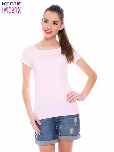 Jasnoróżowy basicowy t-shirt z okrągłym dekoltem                                  zdj.                                  1