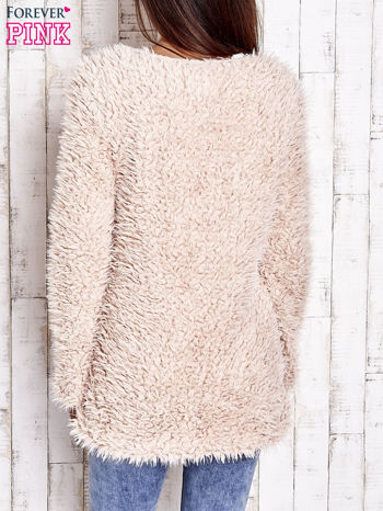 Jasnoróżowy futrzany sweter kurtka na suwak                                  zdj.                                  5