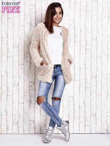Jasnoróżowy futrzany sweter kurtka na suwak                                  zdj.                                  8