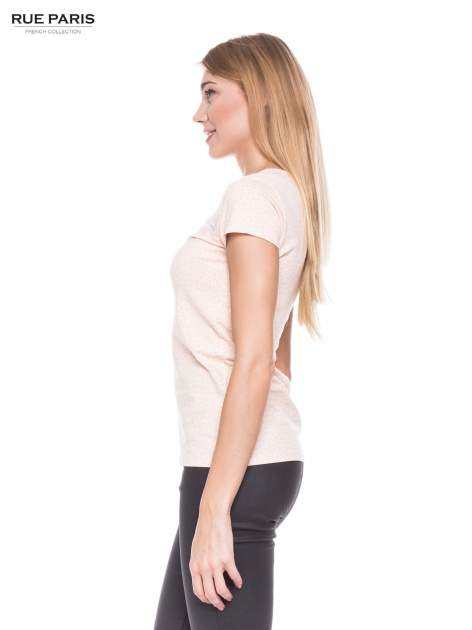 Jasnoróżowy panterkowy t-shirt z transparentnym karczkiem                                  zdj.                                  2