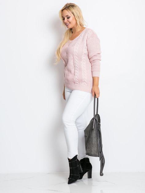 Jasnoróżowy sweter plus size Ruffle                              zdj.                              2