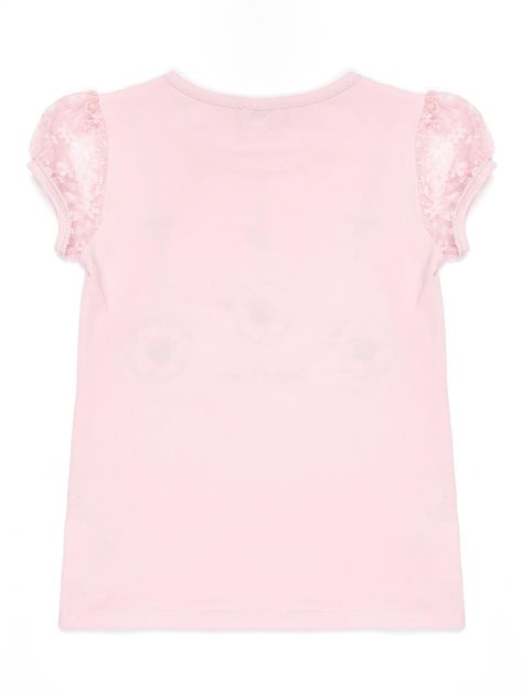 Jasnoróżowy t-shirt dla dziewczynki z biedronkami                              zdj.                              2