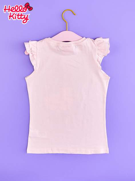 Jasnoróżowy t-shirt dla dziewczynki z falbankowymi rękawkami HELLO KITTY                                  zdj.                                  2