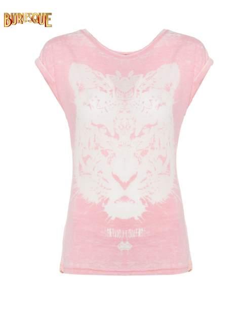 Jasnoróżowy t-shirt z nadrukiem tygrysa                                  zdj.                                  1