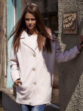 Jasnoróżowy wełniany płaszcz damski z kieszeniami i kołnierzem                                  zdj.                                  7