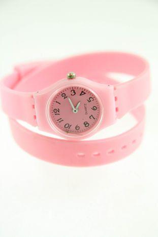 Jasnoróżowy zegarek damski na silikonowym pasku
