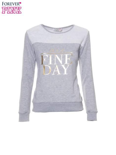 Jasnoszara bluza dresowa ze złotym napisem IT'S A FINE DAY                                  zdj.                                  5