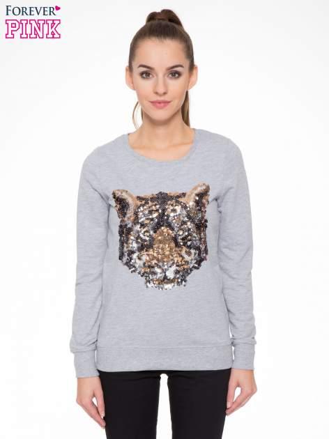 Jasnoszara bluza z aplikacją tygrysa z cekinów
