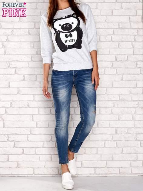 Jasnoszara bluza z nadrukiem pandy                                  zdj.                                  2