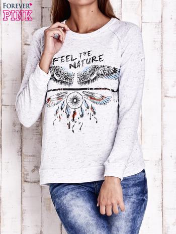 Jasnoszara bluza z napisem FEEL THE NATURE                                  zdj.                                  1
