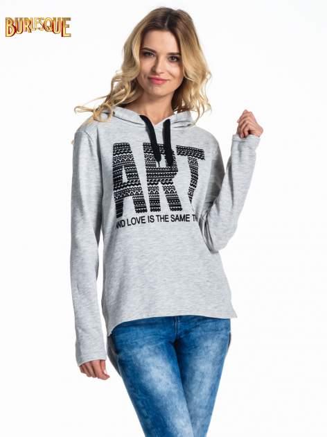 Jasnoszara damska bluza z kapturem i napisem ART                                  zdj.                                  1