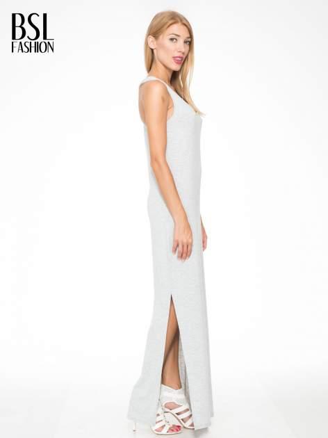 Jasnoszara długa sukienka z węzłem z tyłu                                  zdj.                                  3