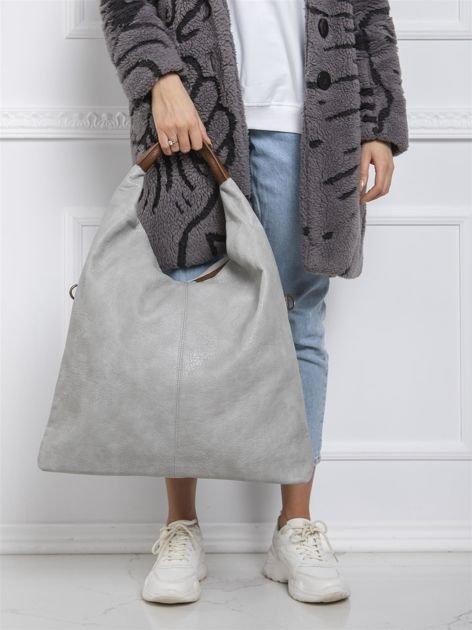 Jasnoszara duża torba damska