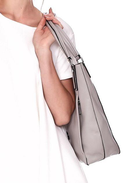 Jasnoszara duża torba z eko skóry                              zdj.                              3