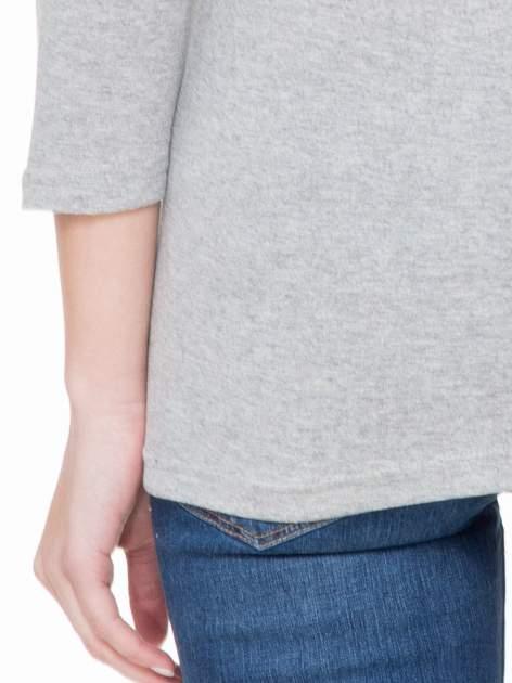 Jasnoszara melanżowa basicowa gładka bluzka z rękawem 7/8                                  zdj.                                  6