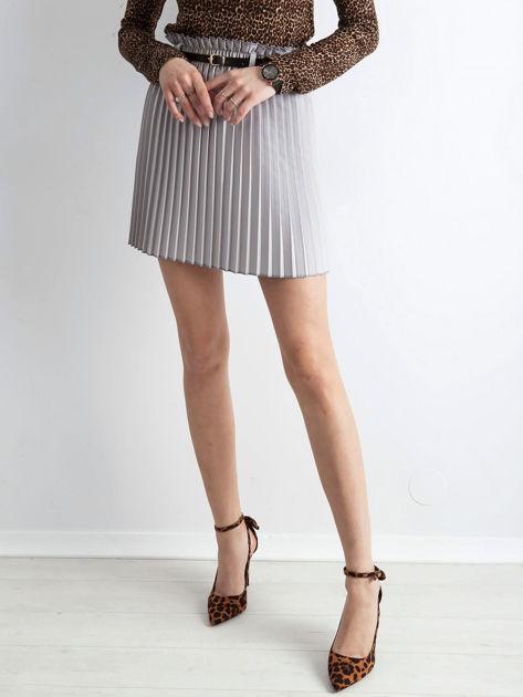 Jasnoszara plisowana spódnica z paskiem                              zdj.                              5