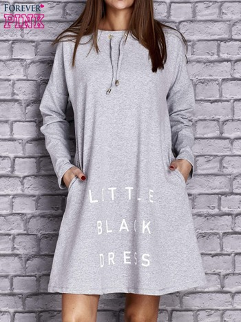 Jasnoszara sukienka z napisem LITTLE BLACK DRESS                                  zdj.                                  1