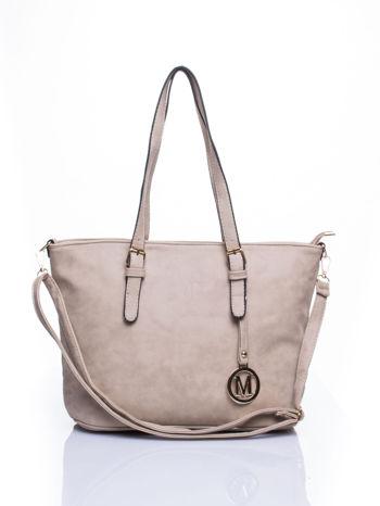 Jasnoszara torba shopper bag z zawieszką                                  zdj.                                  1