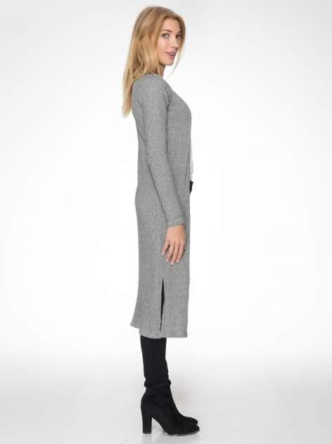 Jasnoszary długi prążkowany sweter kardigan                                  zdj.                                  3