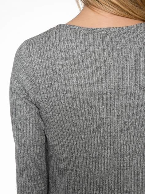 Jasnoszary długi prążkowany sweter kardigan                                  zdj.                                  7