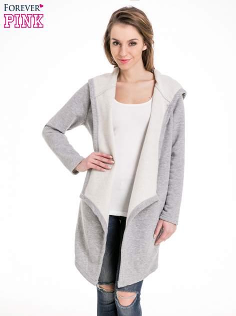 Jasnoszary dresowy płaszcz z kapturem i asymetrycznymi bokami                                  zdj.                                  1