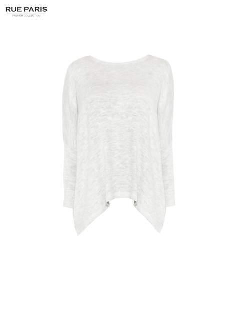 Jasnoszary melanżowy sweter oversize o obniżonej linii ramion z rozporkami po bokach                                  zdj.                                  5