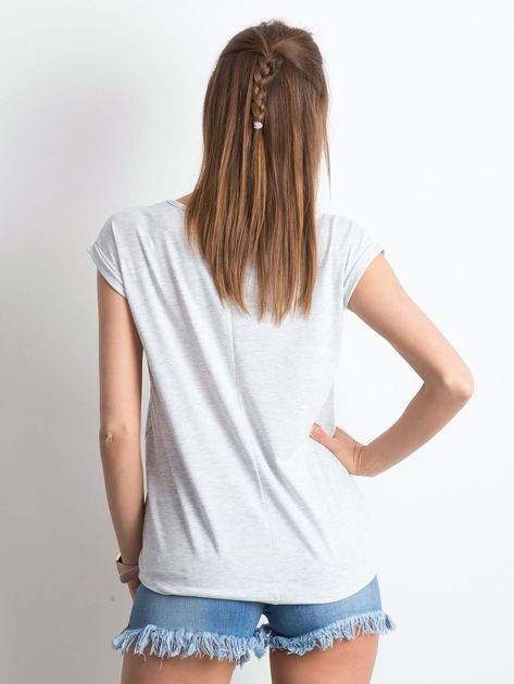 Jasnoszary melanżowy t-shirt Vibes                              zdj.                              2