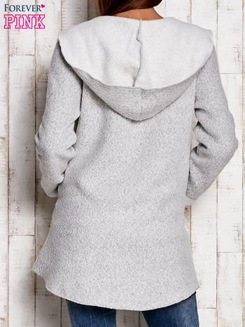 Jasnoszary otwarty sweter z kapturem                                  zdj.                                  3