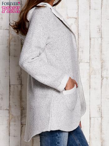 Jasnoszary otwarty sweter z kapturem                                  zdj.                                  4