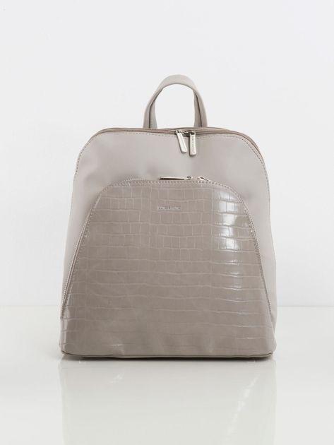 Jasnoszary plecak z kieszenią