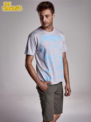 Jasnoszary t-shirt męski SMERFY                                  zdj.                                  1