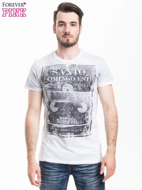 Jasnoszary t-shirt męski z nadrukiem SANTO DOMINGO                                  zdj.                                  1