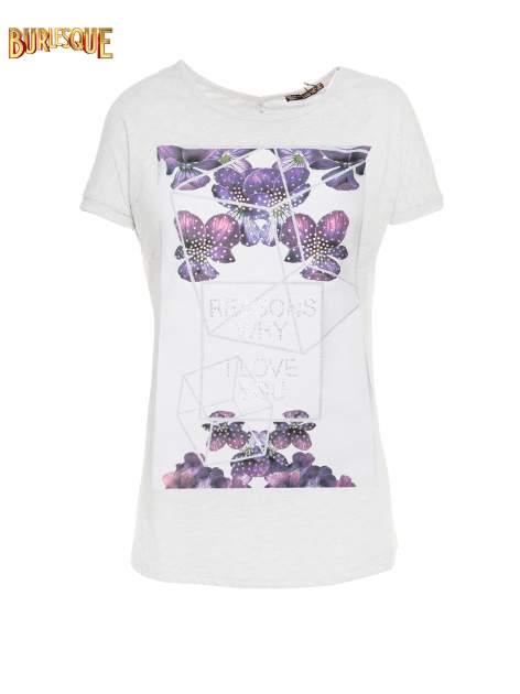 Jasnoszary t-shirt z kwiatowym nadrukiem zdobionym dżetami                                  zdj.                                  1