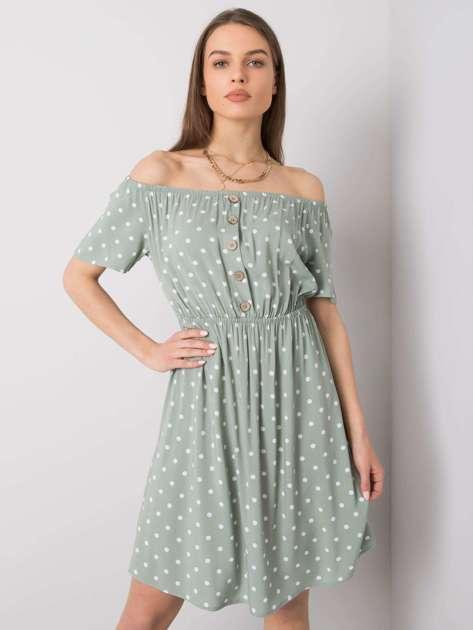 Jasnozielona sukienka w groszki Kasey SUBLEVEL
