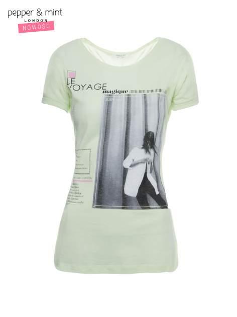 Jasnozielony  t-shirt z nadrukiem fashion