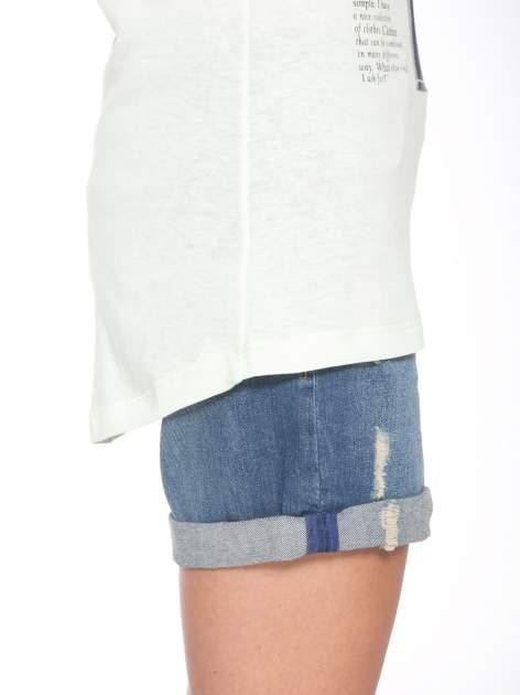 Jasnozielony  t-shirt z nadrukiem fashion                                  zdj.                                  9